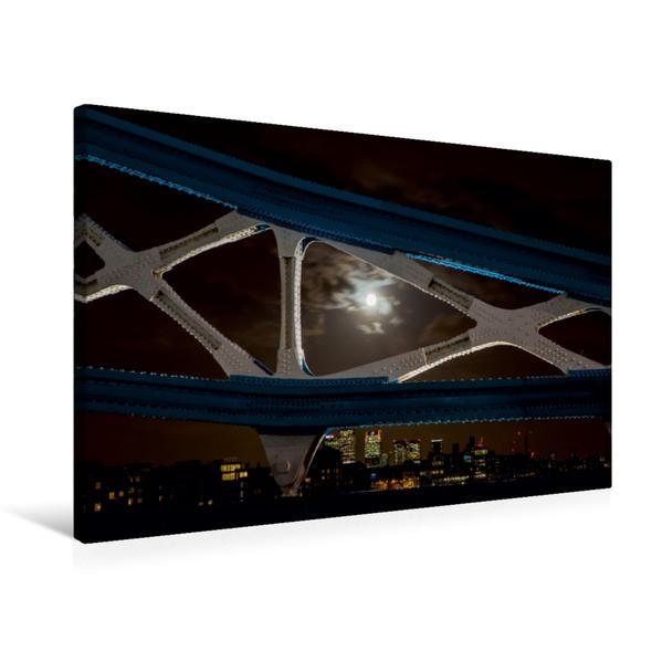 Premium Textil-Leinwand 75 cm x 50 cm quer, Bei Vollmond auf der Tower Bridge   Wandbild, Bild auf Keilrahmen, Fertigbild auf echter Leinwand, Leinwanddruck - Coverbild