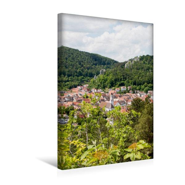 Premium Textil-Leinwand 30 cm x 45 cm hoch, Blick über Blaubeuren vom Rucken | Wandbild, Bild auf Keilrahmen, Fertigbild auf echter Leinwand, Leinwanddruck - Coverbild