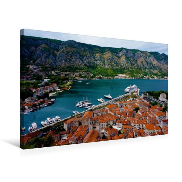 Premium Textil-Leinwand 75 cm x 50 cm quer, Die Altstadt von Kotor von oben   Wandbild, Bild auf Keilrahmen, Fertigbild auf echter Leinwand, Leinwanddruck - Coverbild