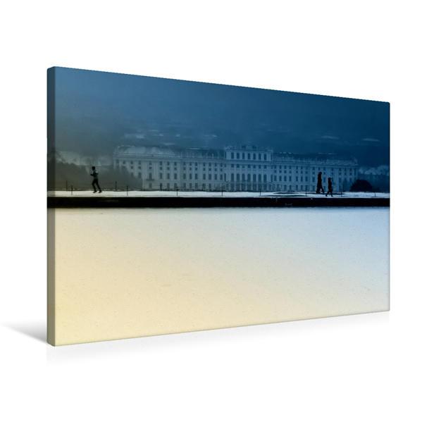 Premium Textil-Leinwand 75 cm x 50 cm quer, Schloss Schönbrunn im Winter | Wandbild, Bild auf Keilrahmen, Fertigbild auf echter Leinwand, Leinwanddruck - Coverbild