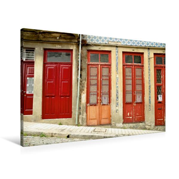 Premium Textil-Leinwand 90 cm x 60 cm quer, Eng stehende Türen, jede mit eigener Hausnummer   Wandbild, Bild auf Keilrahmen, Fertigbild auf echter Leinwand, Leinwanddruck - Coverbild