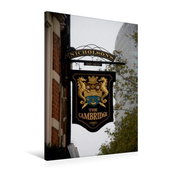 Premium Textil-Leinwand 60 cm x 90 cm hoch, Kneipenschilder in London - THE CAMBRIDGE | Wandbild, Bild auf Keilrahmen, Fertigbild auf echter Leinwand, Leinwanddruck - Coverbild