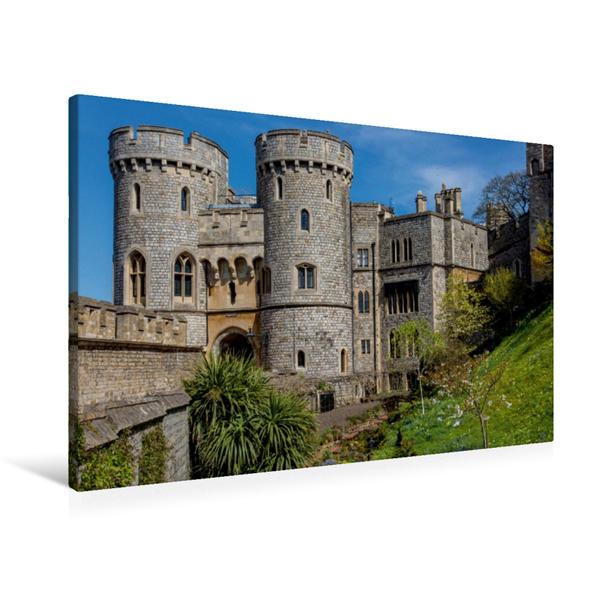 Premium Textil-Leinwand 90 cm x 60 cm quer, Windsor Castle | Wandbild, Bild auf Keilrahmen, Fertigbild auf echter Leinwand, Leinwanddruck - Coverbild