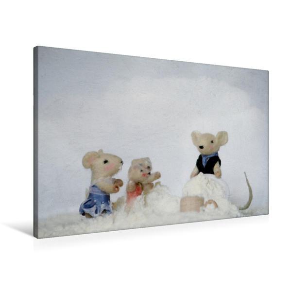 Premium Textil-Leinwand 90 cm x 60 cm quer, Familie Maus im Mehl | Wandbild, Bild auf Keilrahmen, Fertigbild auf echter Leinwand, Leinwanddruck - Coverbild