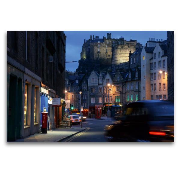 Premium Textil-Leinwand 120 cm x 80 cm quer, Edinburgh, Grassmarket | Wandbild, Bild auf Keilrahmen, Fertigbild auf echter Leinwand, Leinwanddruck - Coverbild