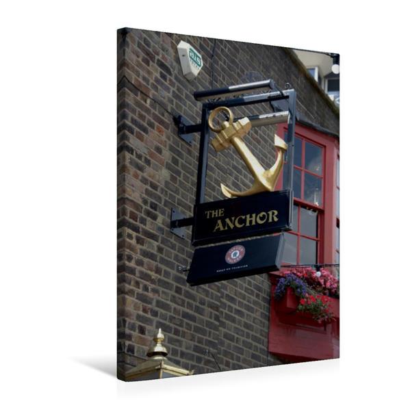 Premium Textil-Leinwand 50 cm x 75 cm hoch, Kneipenschilder in London - THE ANCHOR | Wandbild, Bild auf Keilrahmen, Fertigbild auf echter Leinwand, Leinwanddruck - Coverbild