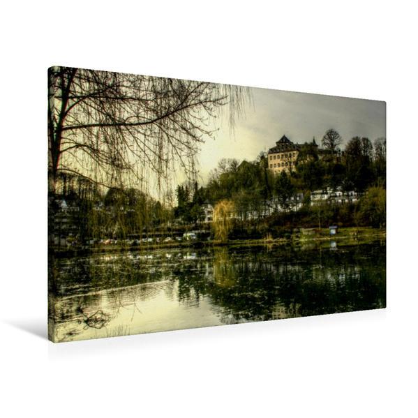 Premium Textil-Leinwand 90 cm x 60 cm quer, Ein Motiv aus dem Kalender Die schönsten Orte der Eifel -  Blankenheim | Wandbild, Bild auf Keilrahmen, Fertigbild auf echter Leinwand, Leinwanddruck - Coverbild
