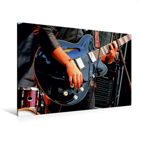 Premium Textil-Leinwand 120 cm x 80 cm quer, Gitarrist auf der Bühne | Wandbild, Bild auf Keilrahmen, Fertigbild auf echter Leinwand, Leinwanddruck - Coverbild