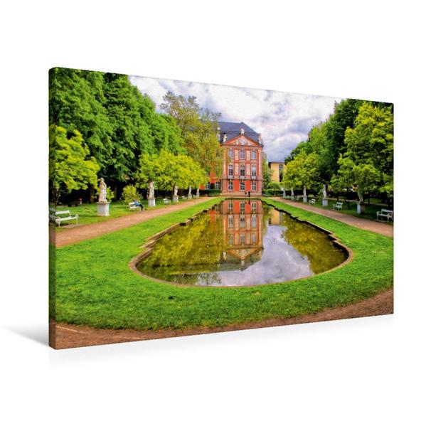 Premium Textil-Leinwand 90 cm x 60 cm quer, Im Garten des Kurfürstliches Schloss   Wandbild, Bild auf Keilrahmen, Fertigbild auf echter Leinwand, Leinwanddruck - Coverbild