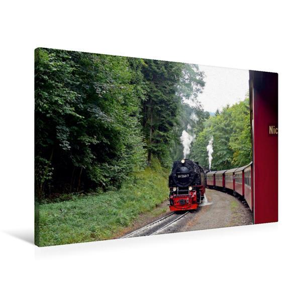 Premium Textil-Leinwand 90 cm x 60 cm quer, Bei der Brockenbahn im Harz | Wandbild, Bild auf Keilrahmen, Fertigbild auf echter Leinwand, Leinwanddruck - Coverbild