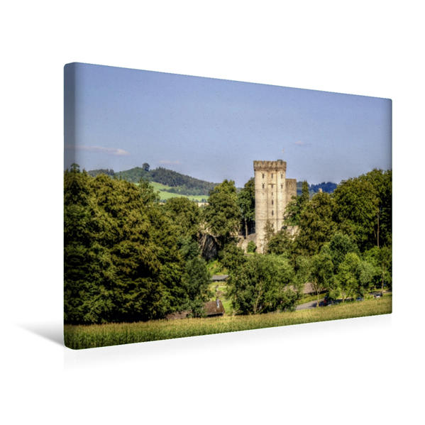 Premium Textil-Leinwand 45 cm x 30 cm quer, Kasselburg bei Pelm   Wandbild, Bild auf Keilrahmen, Fertigbild auf echter Leinwand, Leinwanddruck - Coverbild