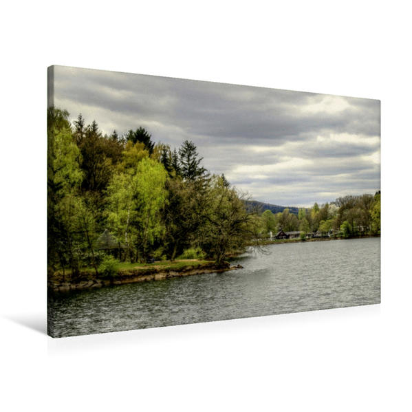 Premium Textil-Leinwand 90 cm x 60 cm quer, Steinbachtalsperre | Wandbild, Bild auf Keilrahmen, Fertigbild auf echter Leinwand, Leinwanddruck - Coverbild