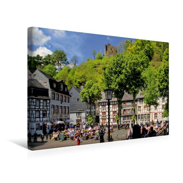 Premium Textil-Leinwand 45 cm x 30 cm quer, Marktplatz in Monschau | Wandbild, Bild auf Keilrahmen, Fertigbild auf echter Leinwand, Leinwanddruck - Coverbild