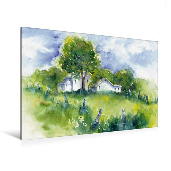 Premium Textil-Leinwand 120 cm x 80 cm quer, Haus im Grünen | Wandbild, Bild auf Keilrahmen, Fertigbild auf echter Leinwand, Leinwanddruck - Coverbild