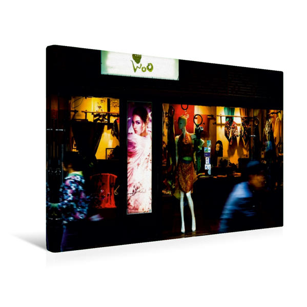 Premium Textil-Leinwand 45 cm x 30 cm quer, Shopping in den bunten Einkaufsstraßen | Wandbild, Bild auf Keilrahmen, Fertigbild auf echter Leinwand, Leinwanddruck - Coverbild