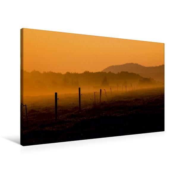 Premium Textil-Leinwand 90 cm x 60 cm quer, Ein Motiv aus dem Kalender Herbstmorgen in der Oberlausitz | Wandbild, Bild auf Keilrahmen, Fertigbild auf echter Leinwand, Leinwanddruck - Coverbild