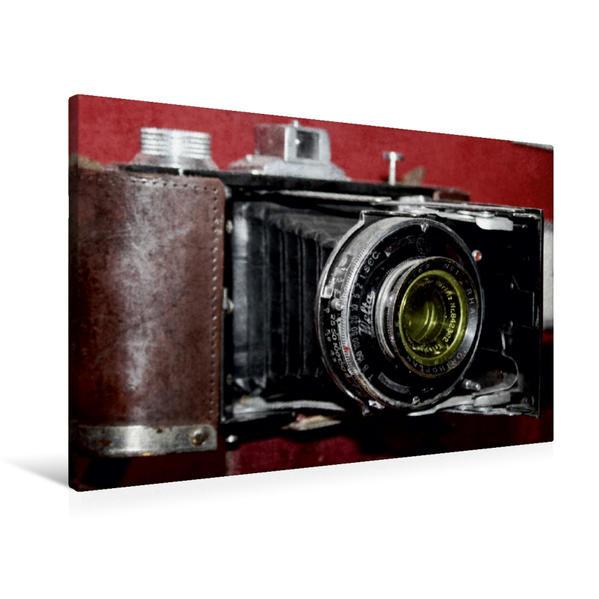 Premium Textil-Leinwand 90 cm x 60 cm quer, Alte Rollfilm-Kamera | Wandbild, Bild auf Keilrahmen, Fertigbild auf echter Leinwand, Leinwanddruck - Coverbild