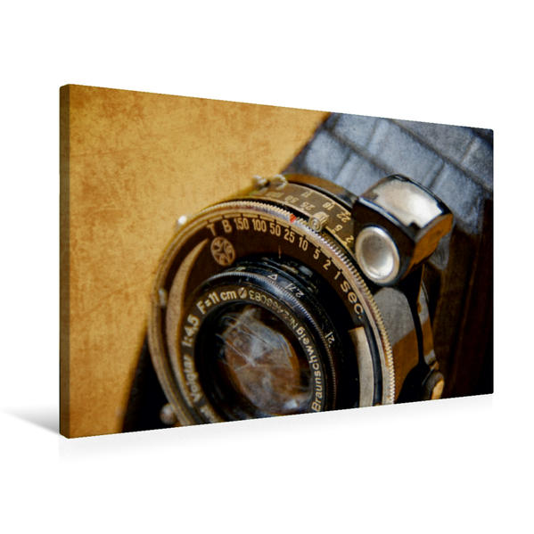Premium Textil-Leinwand 75 cm x 50 cm quer, Linse einer Balgenkamera | Wandbild, Bild auf Keilrahmen, Fertigbild auf echter Leinwand, Leinwanddruck - Coverbild