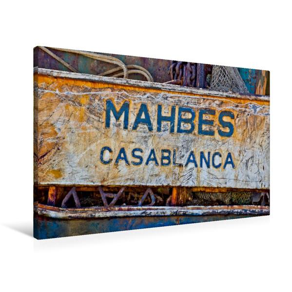 Premium Textil-Leinwand 90 cm x 60 cm quer, Schild eines verrosteten Kahnes im Hafen von Agadir. | Wandbild, Bild auf Keilrahmen, Fertigbild auf echter Leinwand, Leinwanddruck - Coverbild