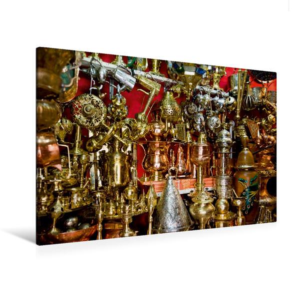 Premium Textil-Leinwand 120 cm x 80 cm quer, Opulente Pracht im Souk von Marrakesch. | Wandbild, Bild auf Keilrahmen, Fertigbild auf echter Leinwand, Leinwanddruck - Coverbild