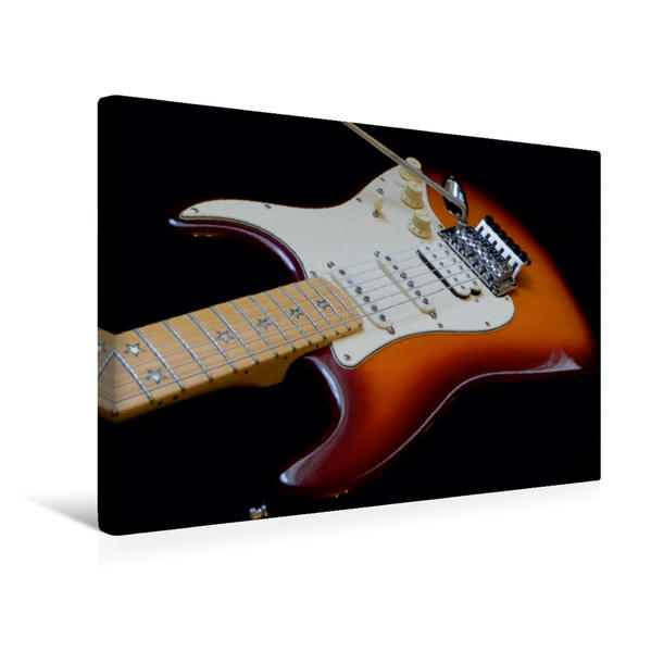 Premium Textil-Leinwand 45 cm x 30 cm quer, Legendäre Rockgitarre - Richie Sambora Stratocaster | Wandbild, Bild auf Keilrahmen, Fertigbild auf echter Leinwand, Leinwanddruck - Coverbild