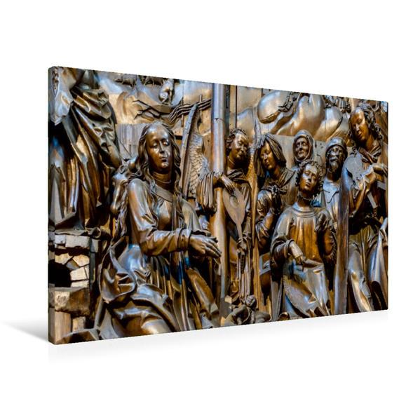 Premium Textil-Leinwand 90 cm x 60 cm quer, Altarbild von Tilman Riemenschneider. | Wandbild, Bild auf Keilrahmen, Fertigbild auf echter Leinwand, Leinwanddruck - Coverbild