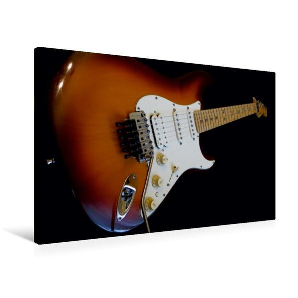 Premium Textil-Leinwand 90 cm x 60 cm quer, Rockgitarre - Richie Sambora Stratocaster | Wandbild, Bild auf Keilrahmen, Fertigbild auf echter Leinwand, Leinwanddruck - Coverbild