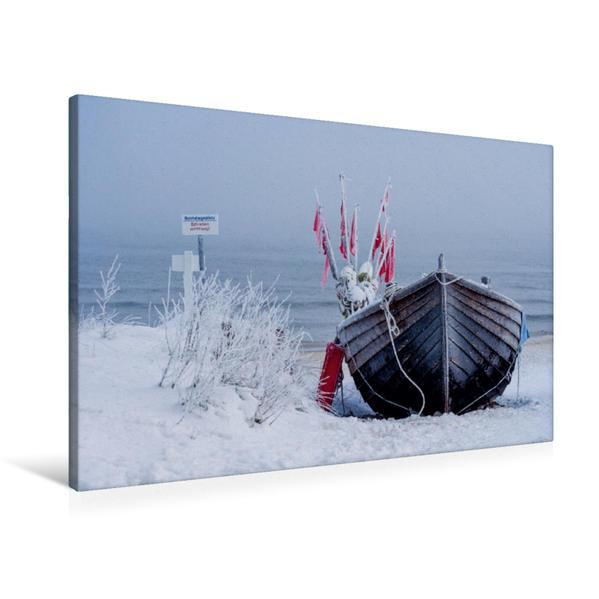 Premium Textil-Leinwand 90 cm x 60 cm quer, Fischerboot im Schnee | Wandbild, Bild auf Keilrahmen, Fertigbild auf echter Leinwand, Leinwanddruck - Coverbild