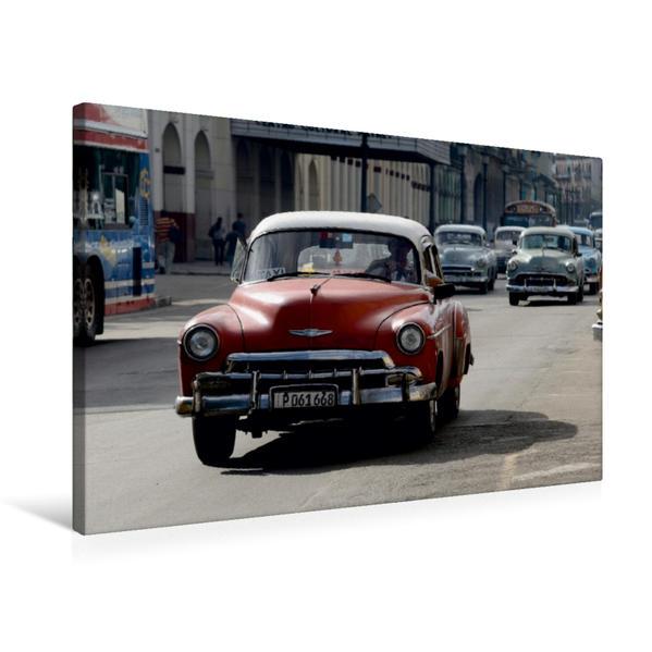 Premium Textil-Leinwand 75 cm x 50 cm quer, Kuba: Oldtimer auf Havannas Straßen | Wandbild, Bild auf Keilrahmen, Fertigbild auf echter Leinwand, Leinwanddruck - Coverbild