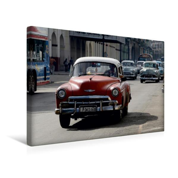 Premium Textil-Leinwand 45 cm x 30 cm quer, Kuba: Oldtimer auf Havannas Straßen | Wandbild, Bild auf Keilrahmen, Fertigbild auf echter Leinwand, Leinwanddruck - Coverbild