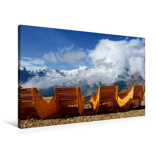 Premium Textil-Leinwand 90 cm x 60 cm quer, Alpenwellness auf Chritzboden | Wandbild, Bild auf Keilrahmen, Fertigbild auf echter Leinwand, Leinwanddruck - Coverbild