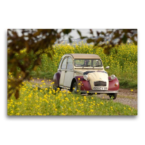Premium Textil-Leinwand 75 cm x 50 cm quer, Citroën 2CV Dolly | Wandbild, Bild auf Keilrahmen, Fertigbild auf echter Leinwand, Leinwanddruck - Coverbild
