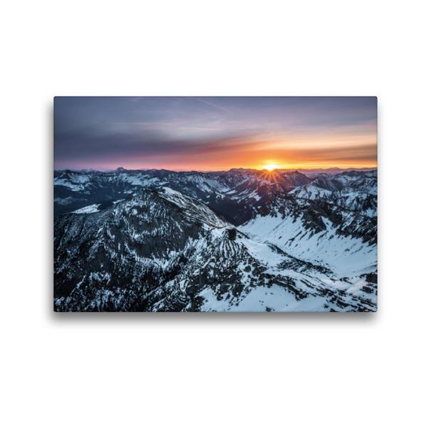 Premium Textil-Leinwand 45 cm x 30 cm quer, Sonnenaufgang im Karwendel | Wandbild, Bild auf Keilrahmen, Fertigbild auf echter Leinwand, Leinwanddruck - Coverbild