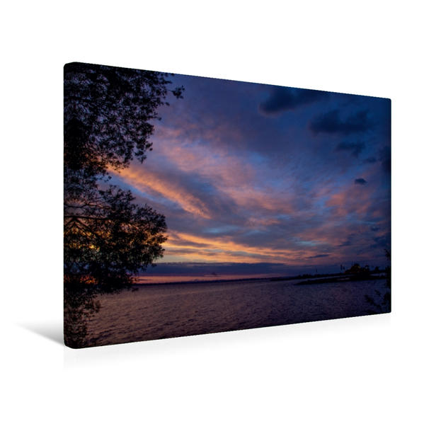 Premium Textil-Leinwand 45 cm x 30 cm quer, Sonnenuntergang am Vättern | Wandbild, Bild auf Keilrahmen, Fertigbild auf echter Leinwand, Leinwanddruck - Coverbild