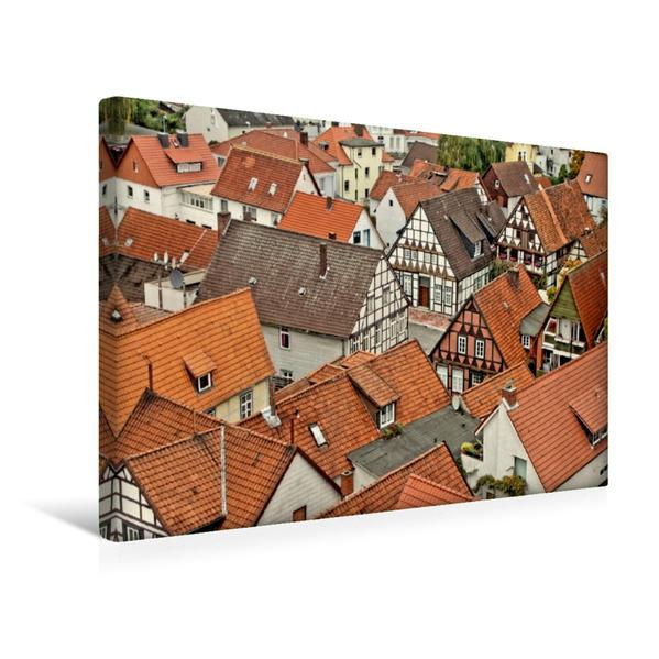 Premium Textil-Leinwand 45 cm x 30 cm quer, Fachwerkhäuser von der St.-Pankratius-Kirche fotografiert | Wandbild, Bild auf Keilrahmen, Fertigbild auf echter Leinwand, Leinwanddruck - Coverbild