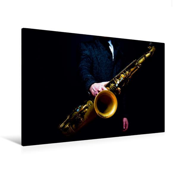 Premium Textil-Leinwand 120 cm x 80 cm quer, Tenorsaxophon | Wandbild, Bild auf Keilrahmen, Fertigbild auf echter Leinwand, Leinwanddruck - Coverbild