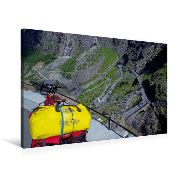 Premium Textil-Leinwand 90 cm x 60 cm quer, Kein Preis ohne Schweiss - der Bergpaß Trollstigen in Norwegen | Wandbild, Bild auf Keilrahmen, Fertigbild auf echter Leinwand, Leinwanddruck - Coverbild