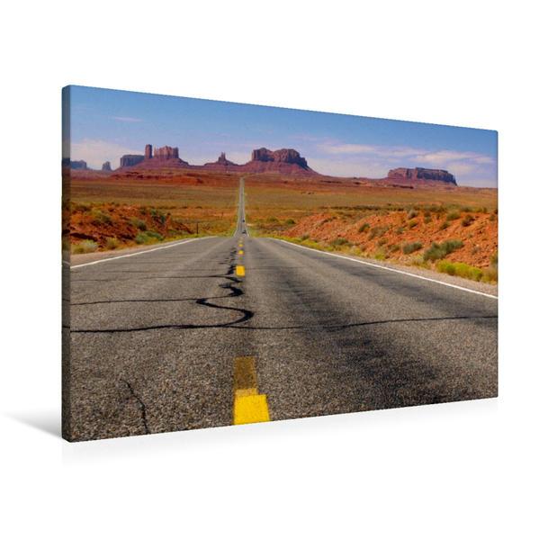 Premium Textil-Leinwand 90 cm x 60 cm quer, Highway 163 zum Monument Valley | Wandbild, Bild auf Keilrahmen, Fertigbild auf echter Leinwand, Leinwanddruck - Coverbild