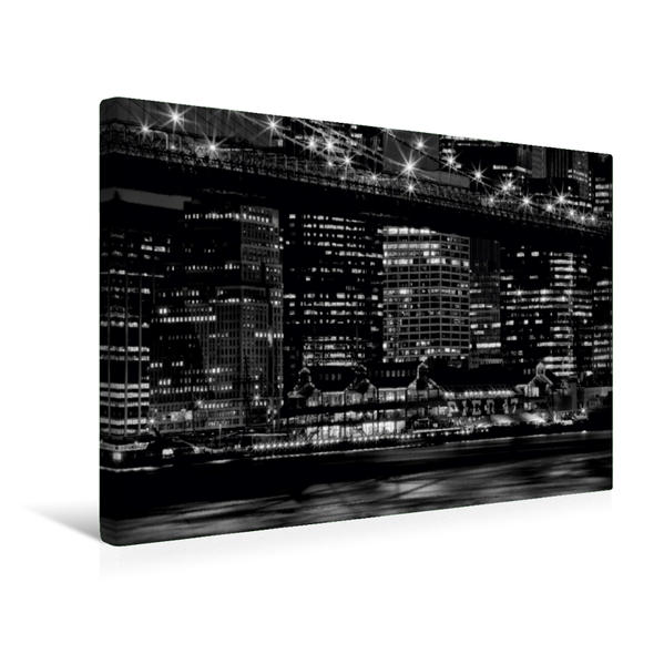 Premium Textil-Leinwand 45 cm x 30 cm quer, Manhattan Pier 17 und Brooklyn Bridge | Wandbild, Bild auf Keilrahmen, Fertigbild auf echter Leinwand, Leinwanddruck - Coverbild