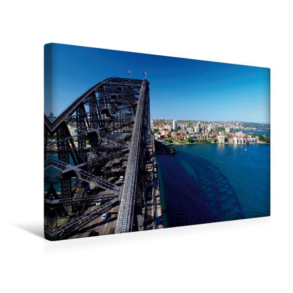 Premium Textil-Leinwand 45 cm x 30 cm quer, SYDNEY Harbour Bridge und Aussicht | Wandbild, Bild auf Keilrahmen, Fertigbild auf echter Leinwand, Leinwanddruck - Coverbild