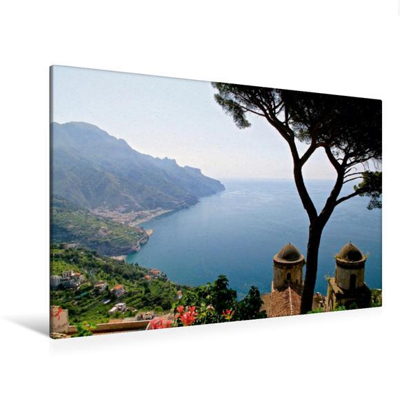 Premium Textil-Leinwand 120 cm x 80 cm quer, Blick von Ravello auf die Amalfiküste, Italien | Wandbild, Bild auf Keilrahmen, Fertigbild auf echter Leinwand, Leinwanddruck - Coverbild