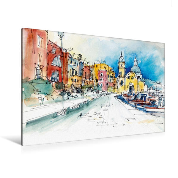 Premium Textil-Leinwand 120 cm x 80 cm quer, Marina Grande auf Procida, Italien | Wandbild, Bild auf Keilrahmen, Fertigbild auf echter Leinwand, Leinwanddruck - Coverbild