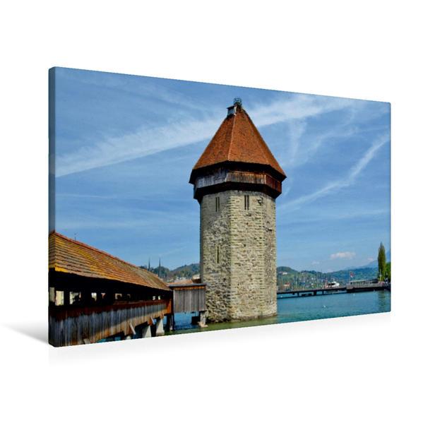 Premium Textil-Leinwand 90 cm x 60 cm quer, LUZERN Kapellbrücke und Wasserturm | Wandbild, Bild auf Keilrahmen, Fertigbild auf echter Leinwand, Leinwanddruck - Coverbild