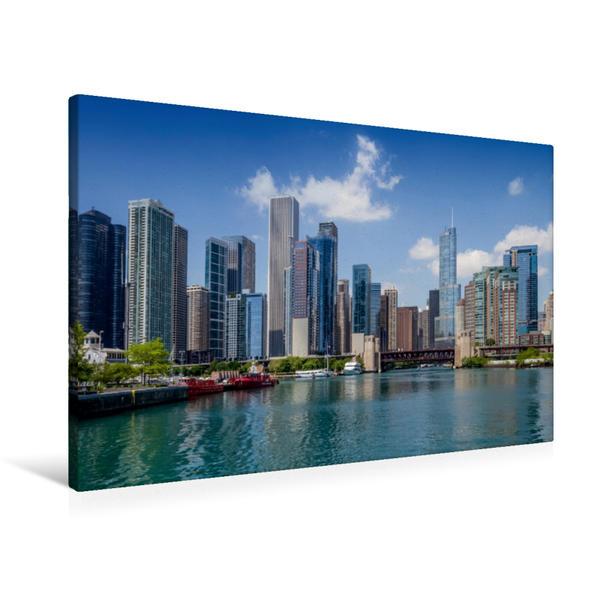 Premium Textil-Leinwand 90 cm x 60 cm quer, Chicago River und Skyline | Wandbild, Bild auf Keilrahmen, Fertigbild auf echter Leinwand, Leinwanddruck - Coverbild