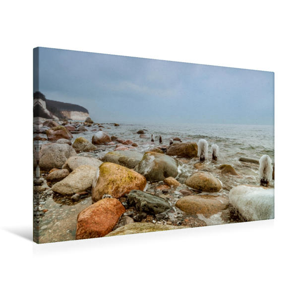 Premium Textil-Leinwand 75 cm x 50 cm quer, Kreideküste | Wandbild, Bild auf Keilrahmen, Fertigbild auf echter Leinwand, Leinwanddruck - Coverbild