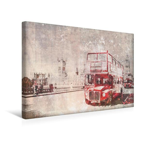 Premium Textil-Leinwand 45 cm x 30 cm quer, City-Art LONDON Rote Busse | Wandbild, Bild auf Keilrahmen, Fertigbild auf echter Leinwand, Leinwanddruck - Coverbild