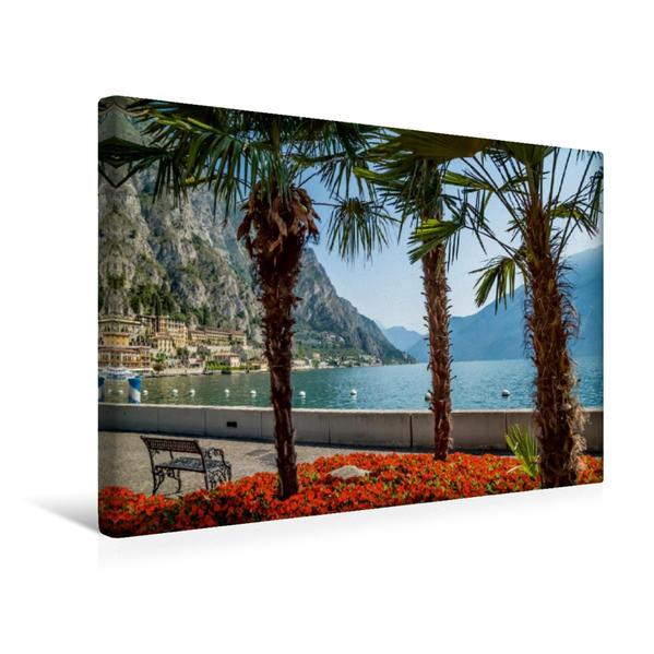 Premium Textil-Leinwand 45 cm x 30 cm quer, GARDASEE Prächtige Uferpromenade in Limone sul Garda | Wandbild, Bild auf Keilrahmen, Fertigbild auf echter Leinwand, Leinwanddruck - Coverbild