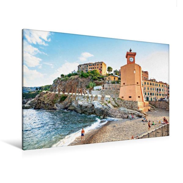 Premium Textil-Leinwand 120 cm x 80 cm quer, Leuchtturm im Hafen von Rio Marina | Wandbild, Bild auf Keilrahmen, Fertigbild auf echter Leinwand, Leinwanddruck - Coverbild