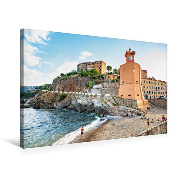 Premium Textil-Leinwand 75 cm x 50 cm quer, Leuchtturm im Hafen von Rio Marina | Wandbild, Bild auf Keilrahmen, Fertigbild auf echter Leinwand, Leinwanddruck - Coverbild