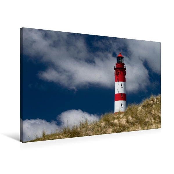 Premium Textil-Leinwand 90 cm x 60 cm quer, Amrumer Leuchtturm | Wandbild, Bild auf Keilrahmen, Fertigbild auf echter Leinwand, Leinwanddruck - Coverbild